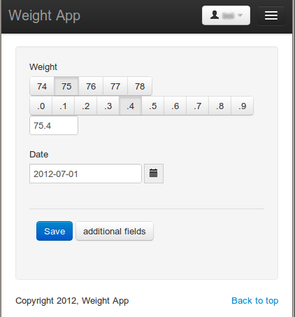 screenshot of weight-app